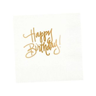 Happy Birthday Napkins White