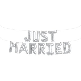 Just Married Kit Silver Balloon