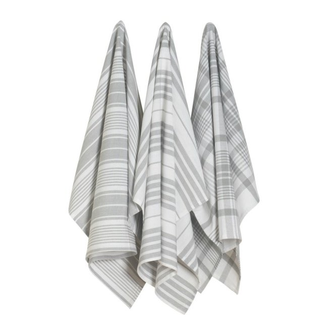 London Gray Jumbo Dishtowels  S/3