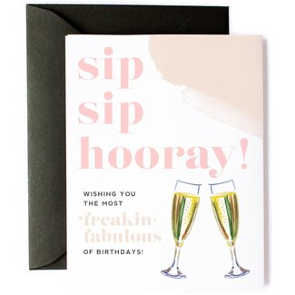 sip sip hooray birthday card