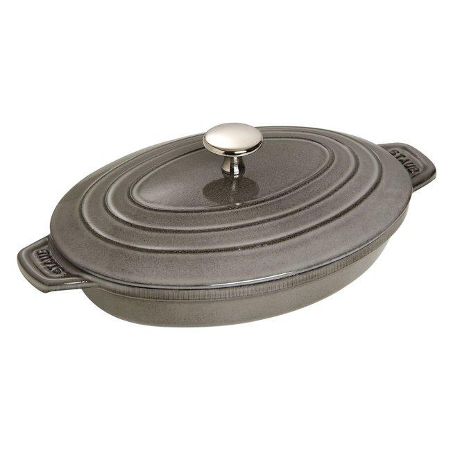 """Staub Staub Cast Iron Covered Baking Dish 9""""x6"""" - Graphite Grey"""