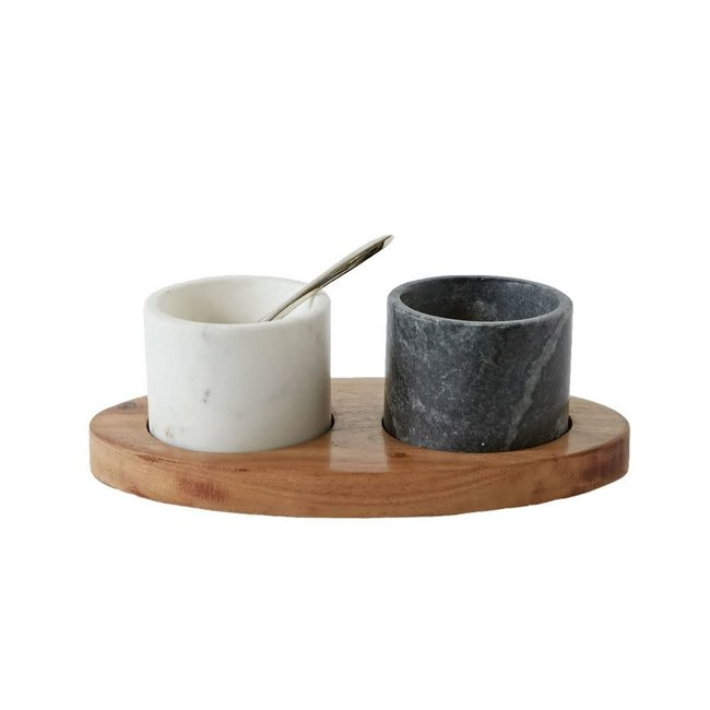 Salt & Pepper Cellars w/ Tray & Spoon