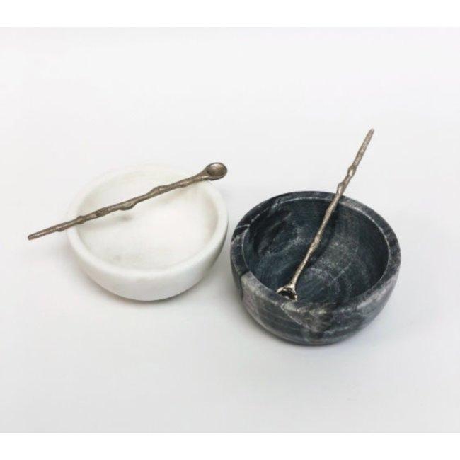 Marble Salt & Pepper w/ silver spoons