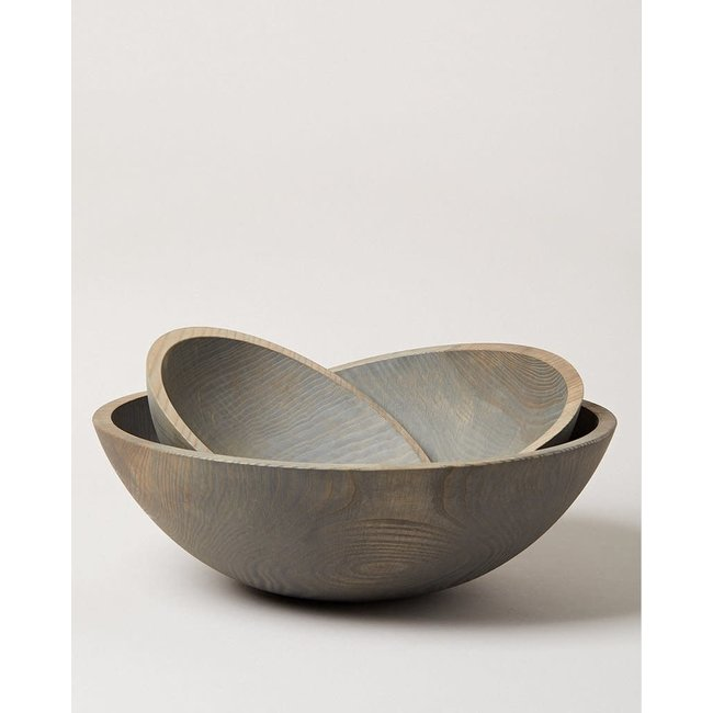 Crafted Wood Bowl Grey Large