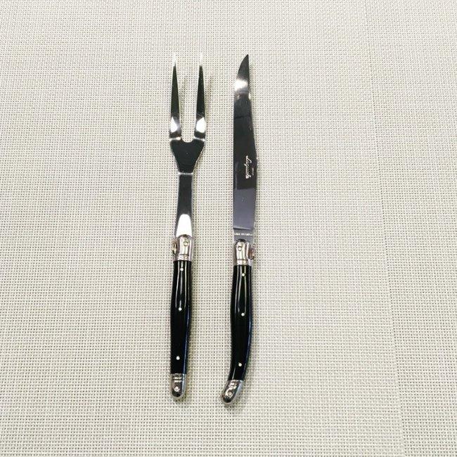 Laguiole Laguiole 2pc Carving Set Black Classic