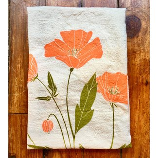 Flour Sack Dishtowel- Poppies