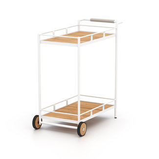 Aroba Outdoor Bar Cart- White Aluminum
