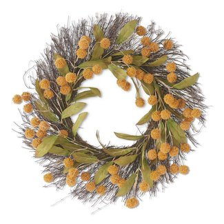 "24"" Yellow Billy Button Wreath"