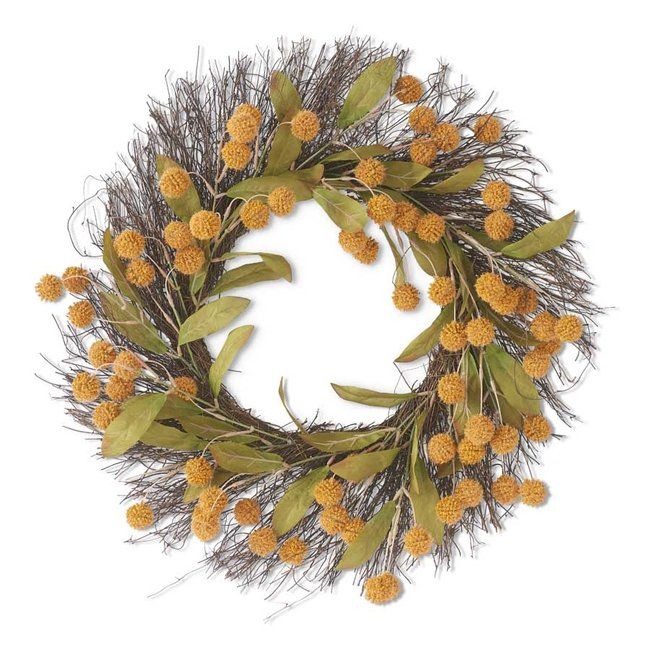 """24"""" Yellow Billy Button Wreath"""