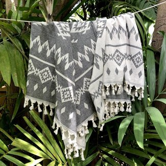 slate + salt Tribal Turkish Throw Blanket