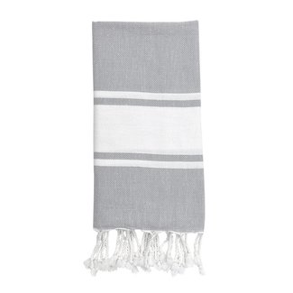 Essential Stripe Classic Grey Turkish Hand Towel