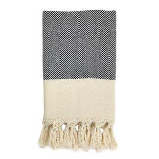 Herringbone Black Turkish Hand Towel