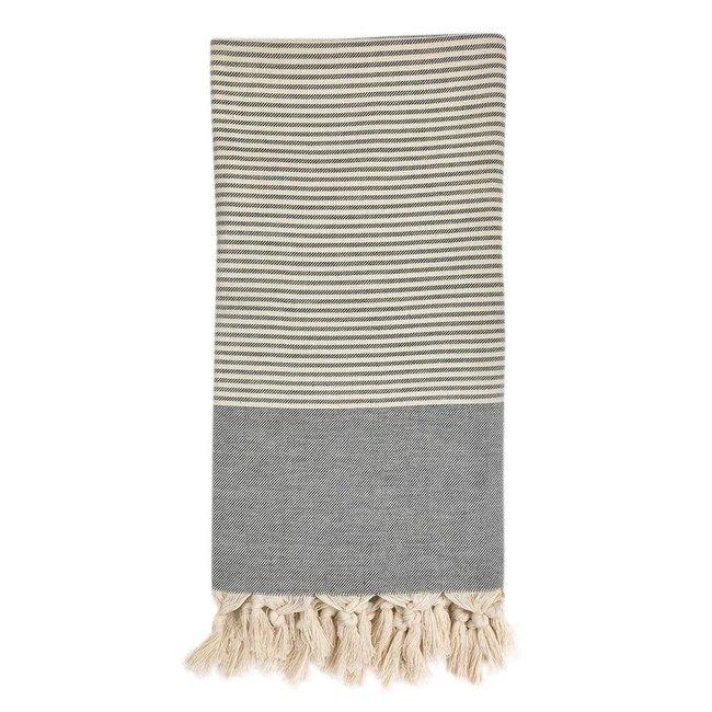Essential Stripe Charcoal Turkish  Towel