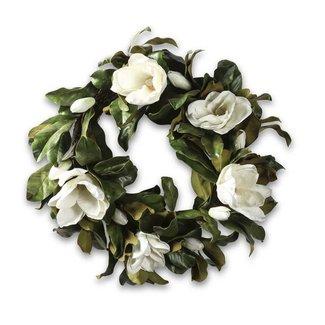 """30"""" White Magnolia Wreath w/Foliage"""