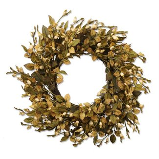 "28"" Cream Berry Wreath w/ Olive Green Leaves"