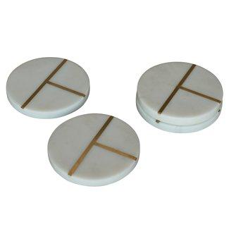 S/4 Aperture Coaster, Marble & Brass, Round