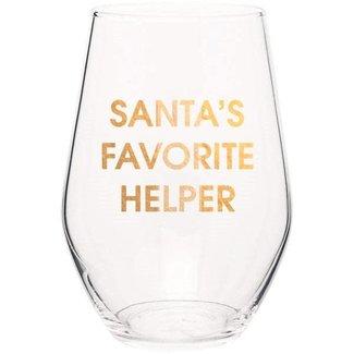 Santa's Favorite Helper Wine Glass