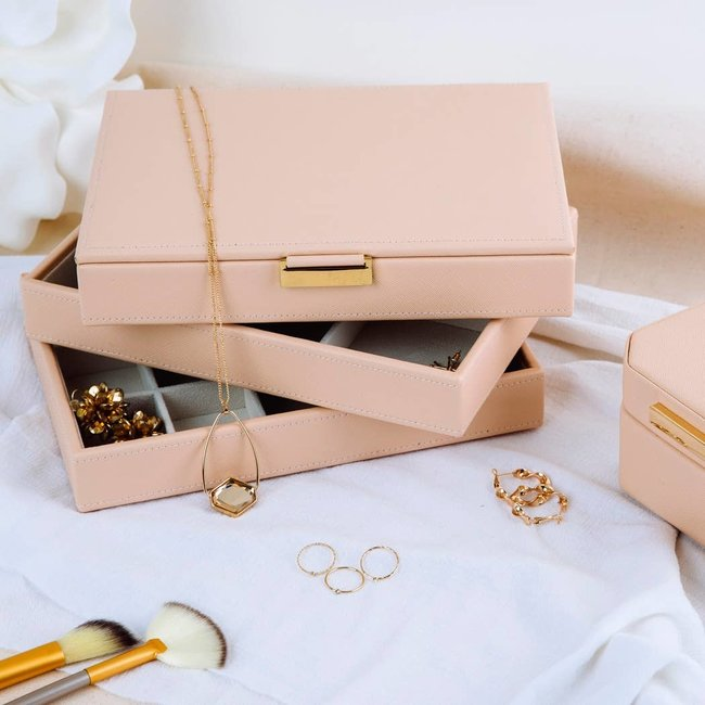 Olivia Stackable Jewelry Tray Pink