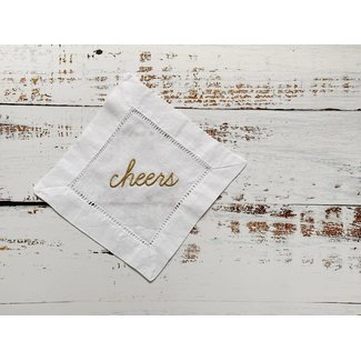 Cheers! Cocktail Napkins  metallic gold