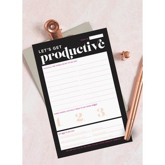 Let's Get Productive Notepad Black & Pink