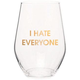Hate Everyone Wine Glass