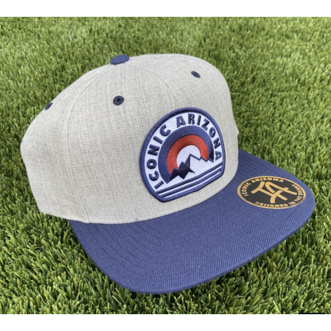Mountain Time Classic Snapback Hat - Navy and Gray