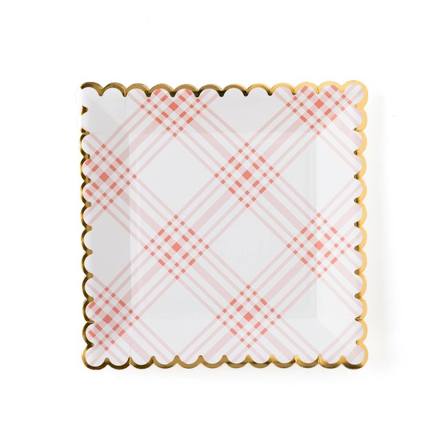 """Garden Party 9"""" Scalloped Plaid Plate"""