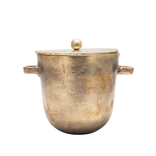 Large Aluminum Ice Bucket Antique Brass