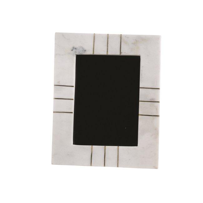 """Marble Photo Frame 5x7"""" W/Brass Inlay"""