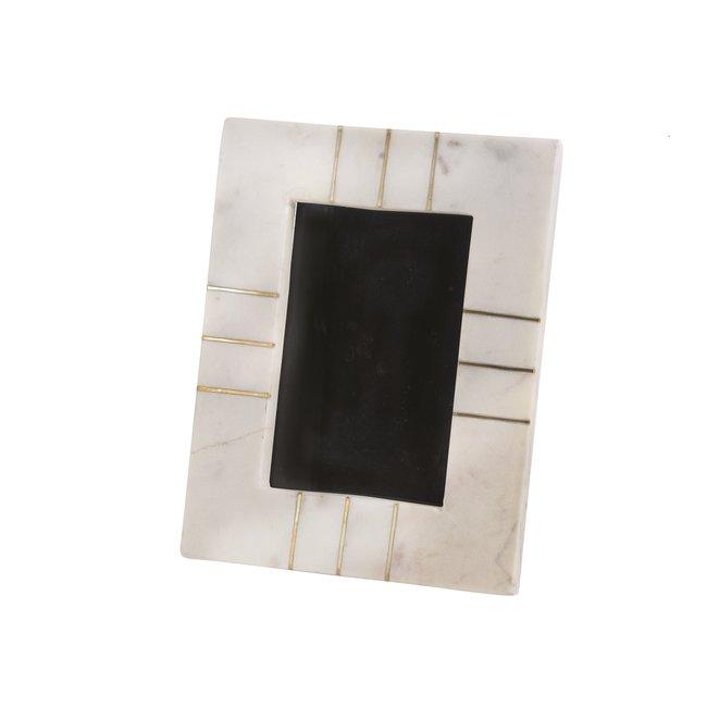 """Marble Photo Frame 4x6"""" W/Brass Inlay"""
