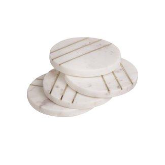S/4 Round Marble w/Brass Coasters