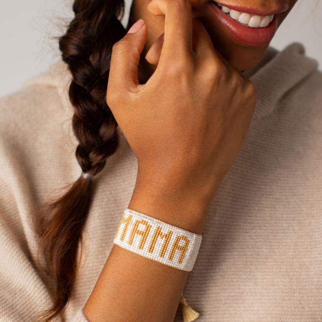 Large White & Gold Mama Bracelet