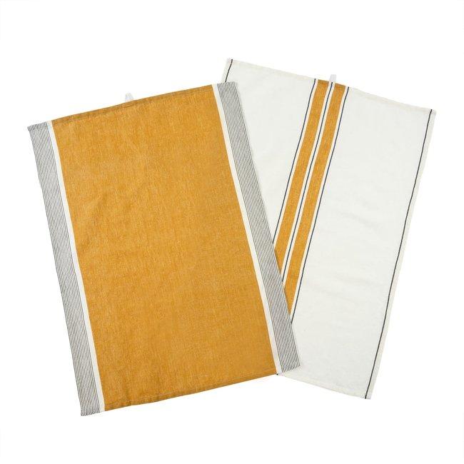 French Stripe Linen Tea Towel S/2