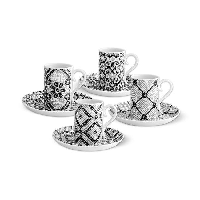 Calcada Portuguesa Set of 4 Espresso Cups and Saucers