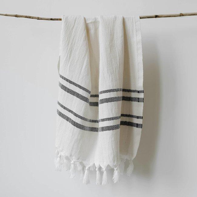 Haley Turkish Cotton + Bamboo Hand Towel - Two Stripe