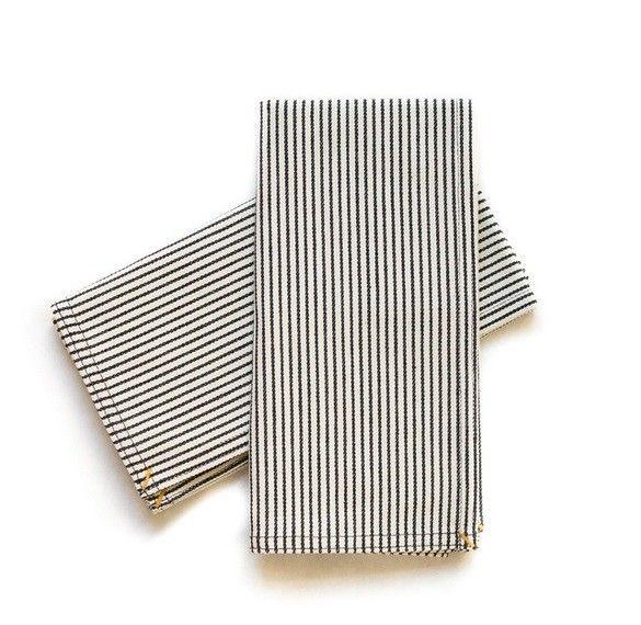 studio stockhome Napkin Set Black Pinstripe