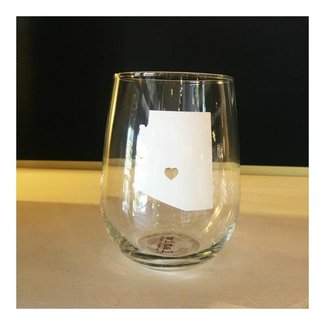 Arizona Wine Glass White w/ Heart