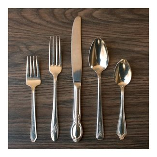 5 Piece Silver Plate Flatware Setting