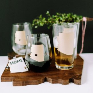 Arizona Wine Glass Matte Gold w/ Heart