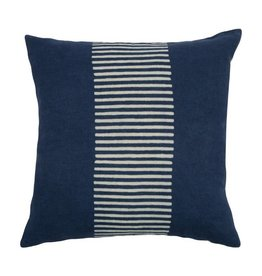 "Sir Madam Center Stripes 18"" Indigo Pillow"