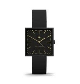 Newgate Watches Cubeline Black Square Leather Strap