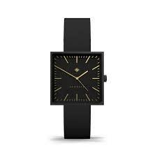 Newgate Watches Cubeline Black Square Leather Strap