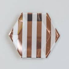 Meri Meri Rose Gold Lg Stripe Plate