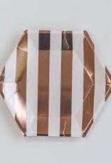 Meri Meri Rose gold striped plate, small
