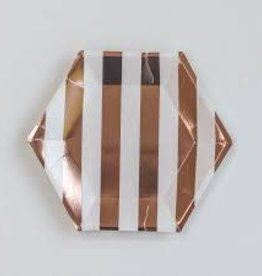 Meri Meri Rose gold striped plate, small