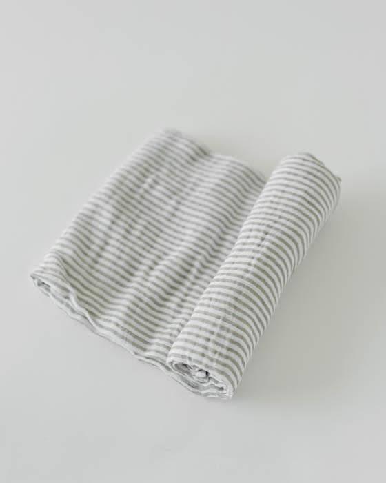 Little Unicorn Cotton Muslin Swaddle Single Grey Stripe