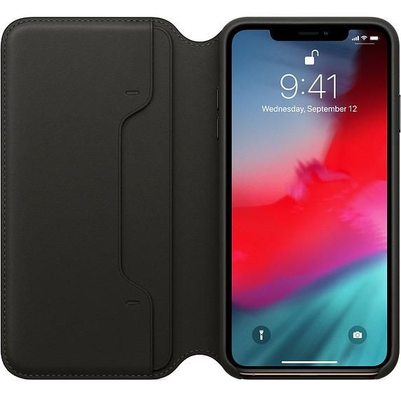 low priced 86639 94ebf Apple Apple Leather Folio Case for iPhone X Max - Black (ATO)