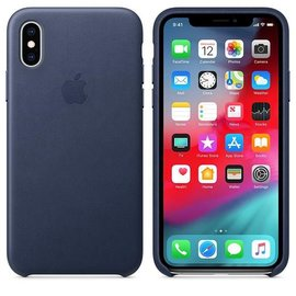 Apple Apple Leather Case for iPhone Xs - Midnight Blue (ATO)