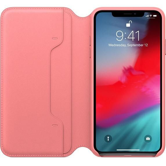 new arrival b29ae ab589 Apple Apple Leather Folio Case for iPhone Xs Max - Peony Pink (ATO)
