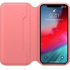 Apple Apple Leather Folio Case for iPhone Xs - Peony Pink (ATO)